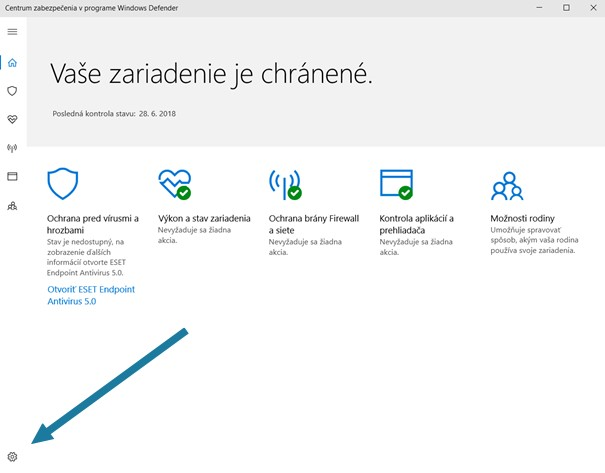 Centrum zabezpecenia Windows Defender