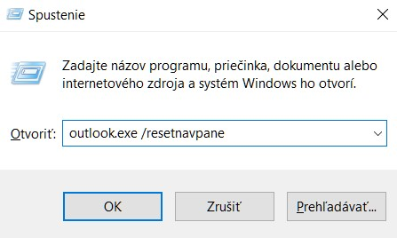 outlook resetnavpane